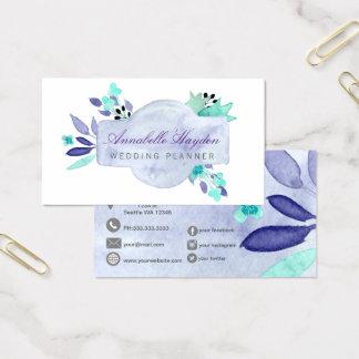 Lila Vintages Blumen Visitenkarte