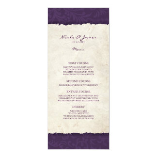 Lila Vintages Land-Hochzeits-Menü 10,2 X 23,5 Cm Einladungskarte