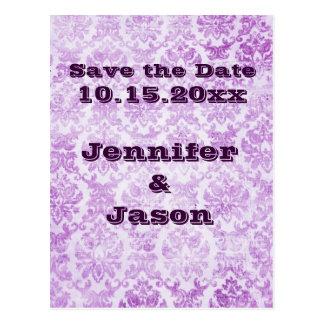 Lila violette Vintage Damast-Hochzeits-Einladungen Postkarte
