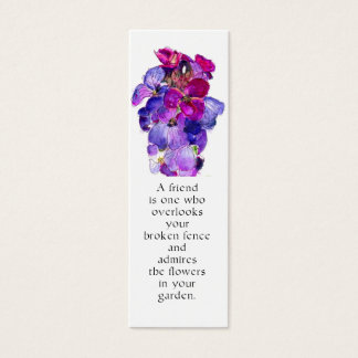 Lila Wallflower-Lesezeichen Mini Visitenkarte
