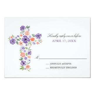 Lila Watercolor-Blumen-Kreuz-erste Kommunion 8,9 X 12,7 Cm Einladungskarte
