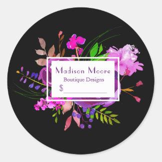 Lila Watercolor-Blumenblumenstrauß-Preis Runder Aufkleber