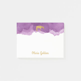 Lila Watercolor-goldenes Post-it Klebezettel