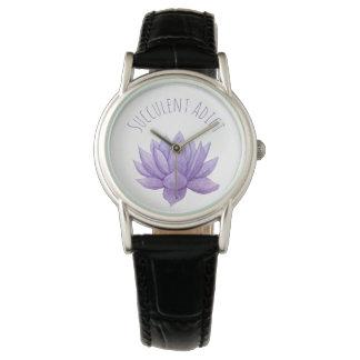 Lila Watercolor-saftige Uhr