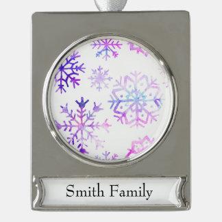 Lila Watercolor-Schneeflocke-Weihnachtsentwurf Banner-Ornament Silber