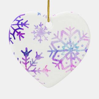Lila Watercolor-Schneeflocke-Weihnachtsentwurf Keramik Ornament