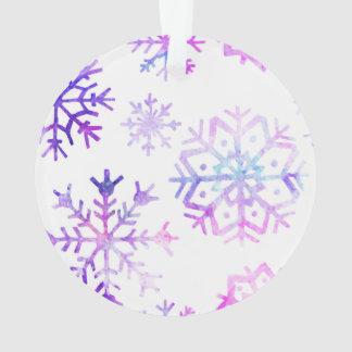 Lila Watercolor-Schneeflocke-Weihnachtsentwurf Ornament