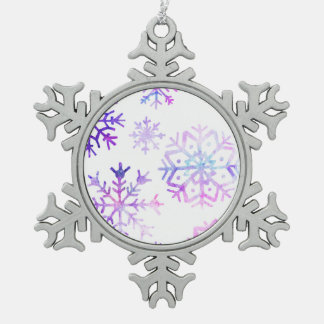 Lila Watercolor-Schneeflocke-Weihnachtsentwurf Schneeflocken Zinn-Ornament