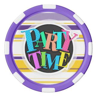 Lila, weiße und gelbe Streifen Poker Chip Set