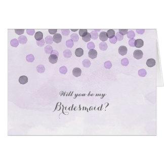 Lila Wille sind Sie meine Brautjungfern-Karte Karte