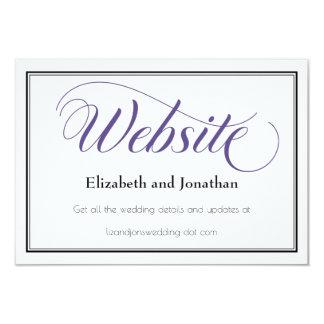 Lila würdevolle Skript-Hochzeits-Website-Karte Karte