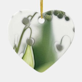 Lilie der Tal-Blumen-Wiederholungs-Skizze Keramik Herz-Ornament