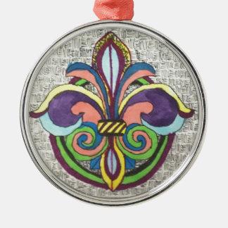 Lilie SONJA Rundes Silberfarbenes Ornament