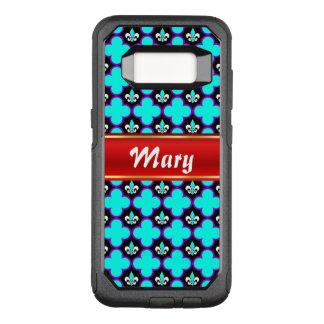 Lilie und quatrefoils mit Streifen für Namen OtterBox Commuter Samsung Galaxy S8 Hülle