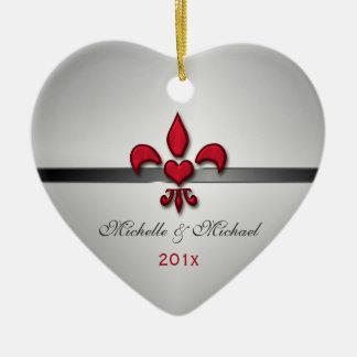Lilien-Herz unser erstes Weihnachtsweiß Keramik Herz-Ornament