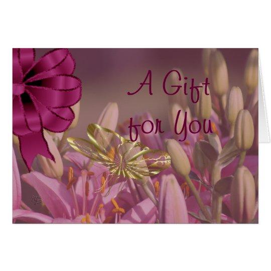 Lilien mit goldener Schmetterlings-Geschenk-Karte Grußkarte