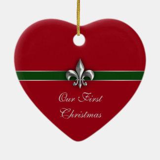 Lilien-Paar-erstes Weihnachten Keramik Herz-Ornament
