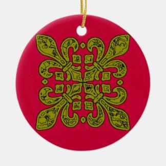 Lilien-Schwarzes und Goldfliesen Rundes Keramik Ornament