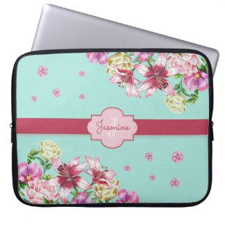 Lilien-u. Pfingstrosen-Blumenaqua Laptop Sleeve