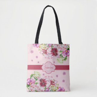 Lilien-u. Pfingstrosen-Blumenrosa Tasche