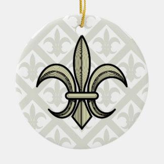 Lilien-Verzierung (Gold u. Silber) Rundes Keramik Ornament