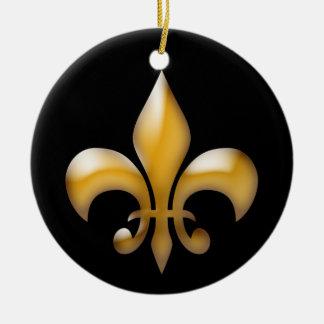 Lilien-Weihnachtsverzierung im Schwarzen und im Rundes Keramik Ornament