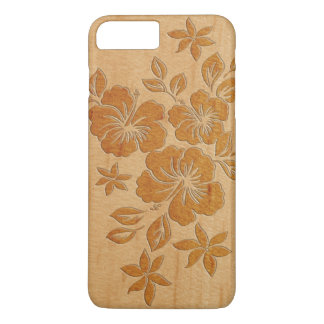 Lilikoi Hibiskus-hawaiisches Imitat hölzern iPhone 8 Plus/7 Plus Hülle
