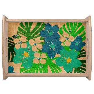 Limahuli Garten-Vintages hawaiisches Blumen Serviertabletts