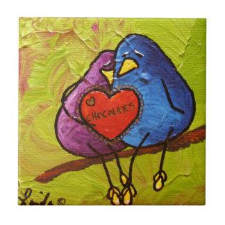 """LimbBirds """"Schokoladen-Valentinsgruß """" Keramikfliese"""