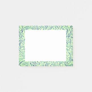Limone grüne BlumenScrollwork Grafik Post-it Klebezettel