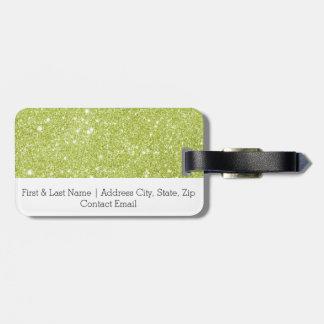 Limone grüne Glitter-Glitzern Gepäckanhänger