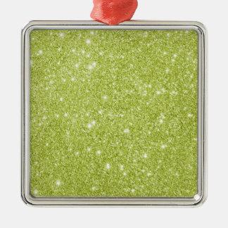Limone grüne Glitter-Glitzern Silbernes Ornament