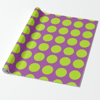 Limone grüne Polka-Punkte lila Geschenkpapier