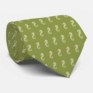 Limone grüne Seepferd-Muster-Krawatte Krawatten