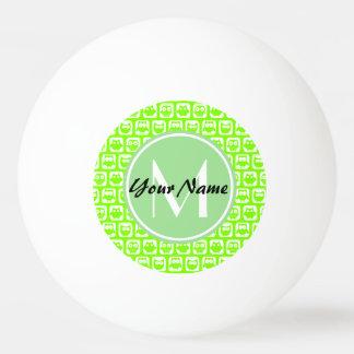 Limone Neoneulen-personalisiertes Monogramm Tischtennis Ball