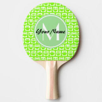 Limone Neoneulen-personalisiertes Monogramm Tischtennis Schläger