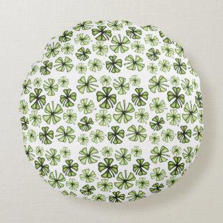 Limoner grüner glücklicher Kleeblatt-Klee Rundes Kissen