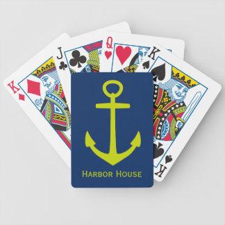 Limoner grüner nautischanker auf der Marine Bicycle Spielkarten