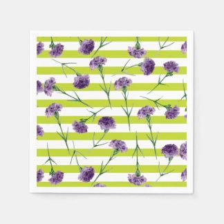 Limones Grün Stripes lila Gartennelken-Muster Serviette