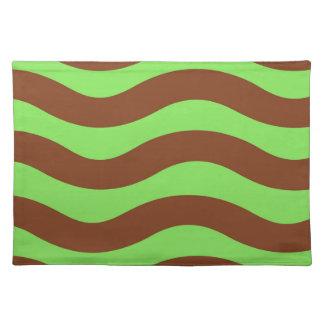 Limones Grün und Brown-Wellen Stofftischset
