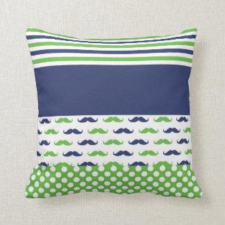 Limones Grün-und Marine-Blau-Schnurrbart-Kissen Kissen