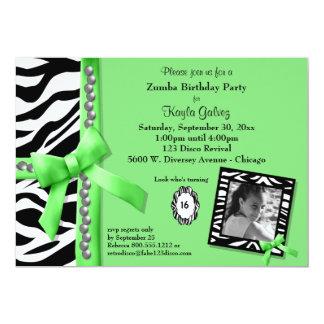 Limones Grün und Zebra Striped Geburtstags-Party 12,7 X 17,8 Cm Einladungskarte