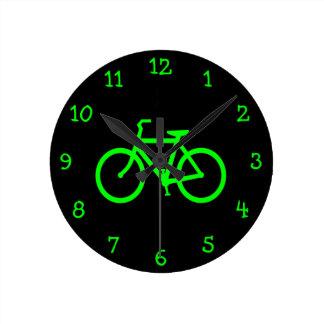 Limones grünes Fahrrad Runde Wanduhr