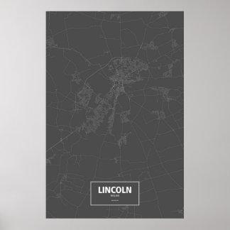 Lincoln, England (weiß auf Schwarzem) Poster