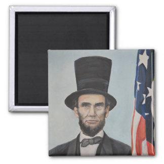 Lincoln-Flaggen-ursprünglicher Kunst-Magnet Quadratischer Magnet