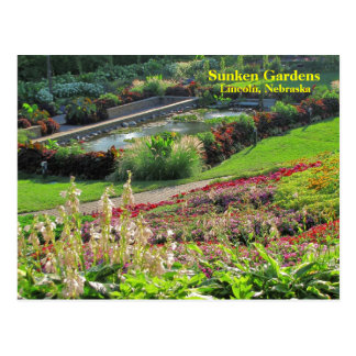 Lincoln, versunkene Gärten #222N 0222   Nebraska Postkarte