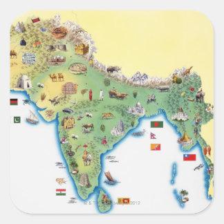 L'Inde, carte avec la représentation Sticker Carré