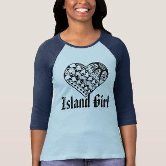 LineA Insel-Mädchen-Schwarz-polynesische T-Shirt