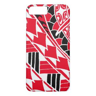 LineA rote polynesische Tätowierung iPhone 8 Plus/7 Plus Hülle