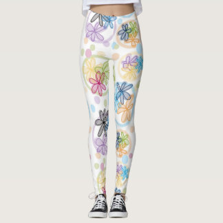 Lineare Blumengamaschen Leggings